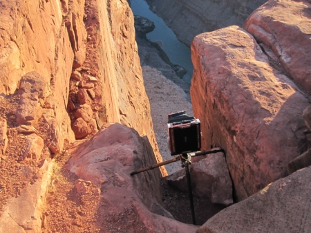 My 8x10 w/ 450mm nikkor setup on the edge of the cliff at Toroweap